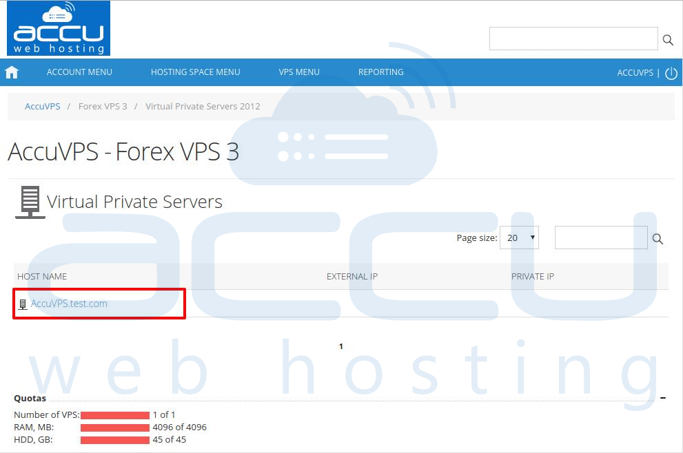 Click on your VPS Hostname