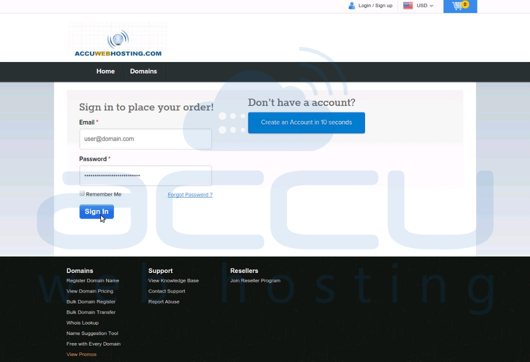 Login to DirectI Domain Control Panel