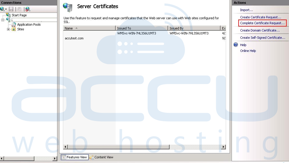 Click on Complete Certificate Request Option