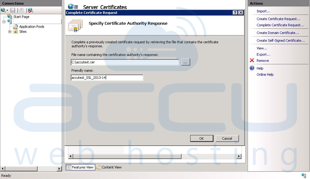 Specify Certificate Authority Reponse Details
