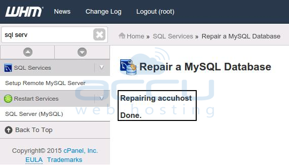 Repair MySQL Host