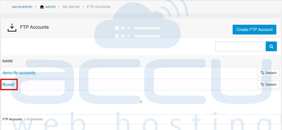 Select FTP Account