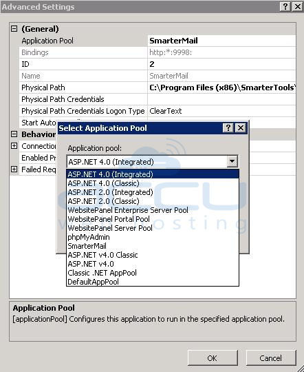 Change the Application Pool of a Website