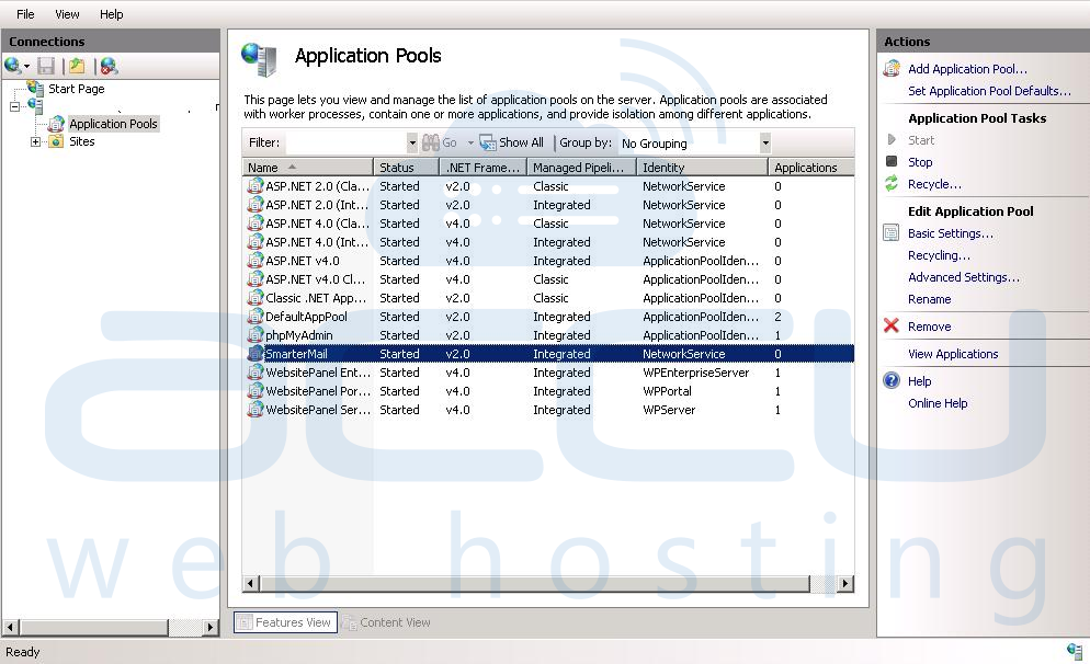 Select Dedicated Application Pool to Make Changes