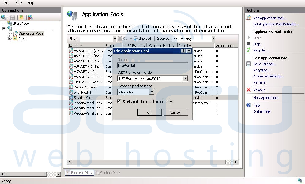 Edit ASP.Net Version in Dedicated Application Pool