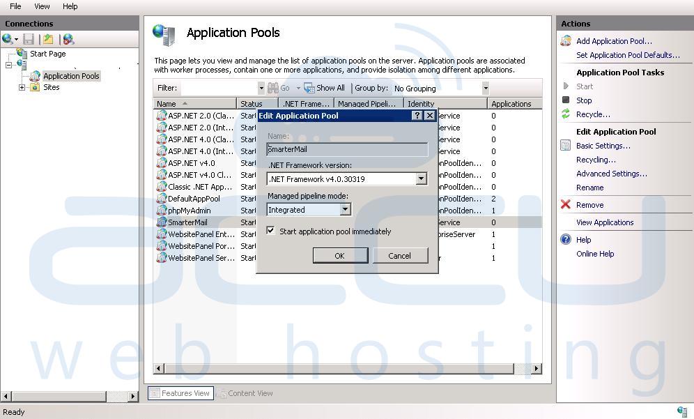 Edit ASP.Net Version in Dedicated Application Pool