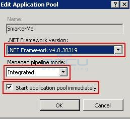 Change .Net Framework of SmarterMail's Application Pool