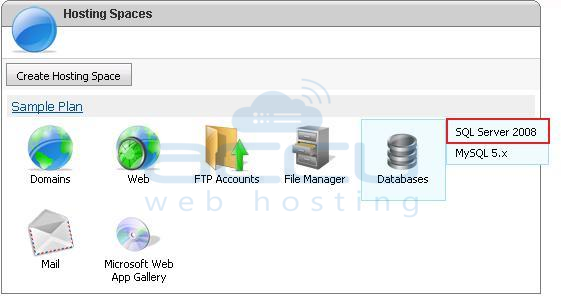 Select SQL Server Option from WebsitePanel