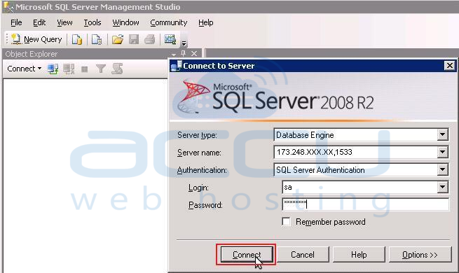 Specify Details to Connect to MSSQL Server