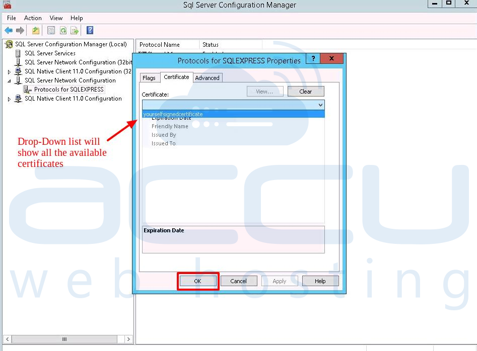 Updated Ssl Certificate at Sql Manager