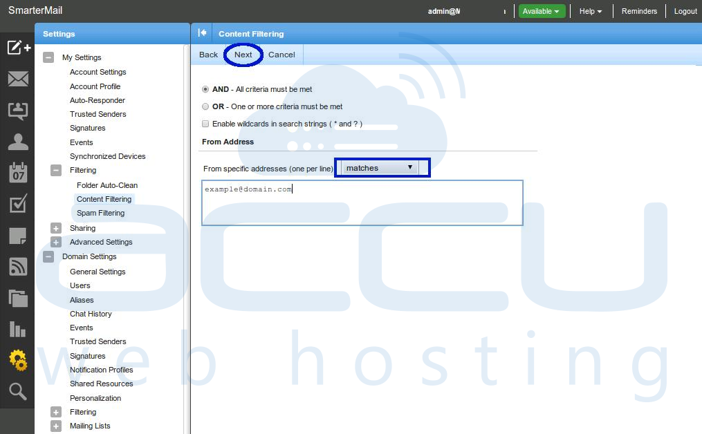 Specify Filtering Criteria and click on Next