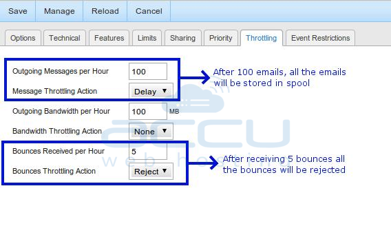 Specify Throttling Limits and Other Settings