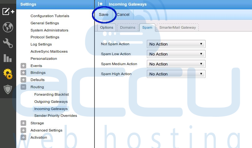 Save Incoming Gateways Settings