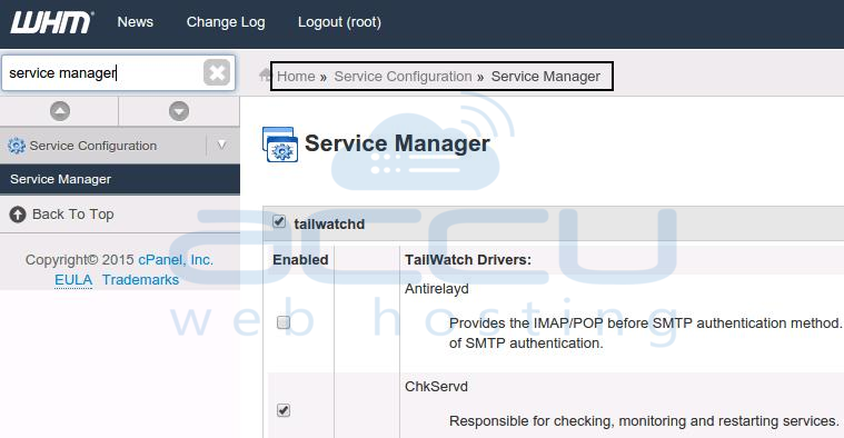 WHM Service Manager