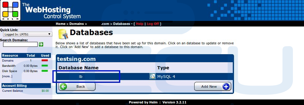 Select a Database for which You Need to Secure Backup
