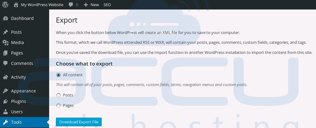Export WordPress Website