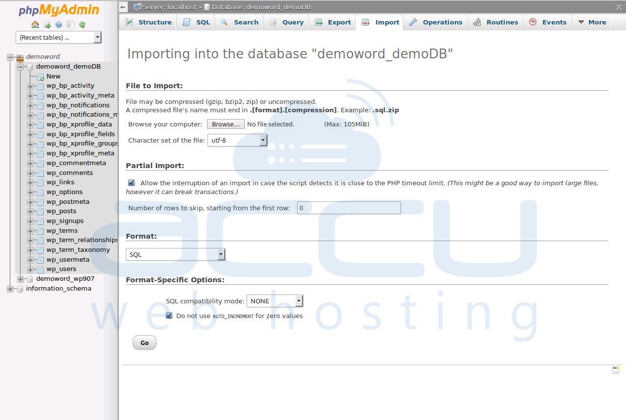 Import Database from phpMyAdmin