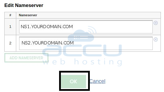 Save New Nameservers for a Domain
