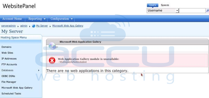Web Application Gallery Module is Unavailable