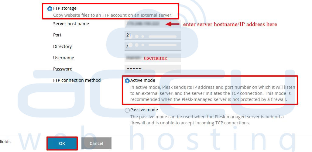 Specify the Server hostname, Port, Directory and Credentials